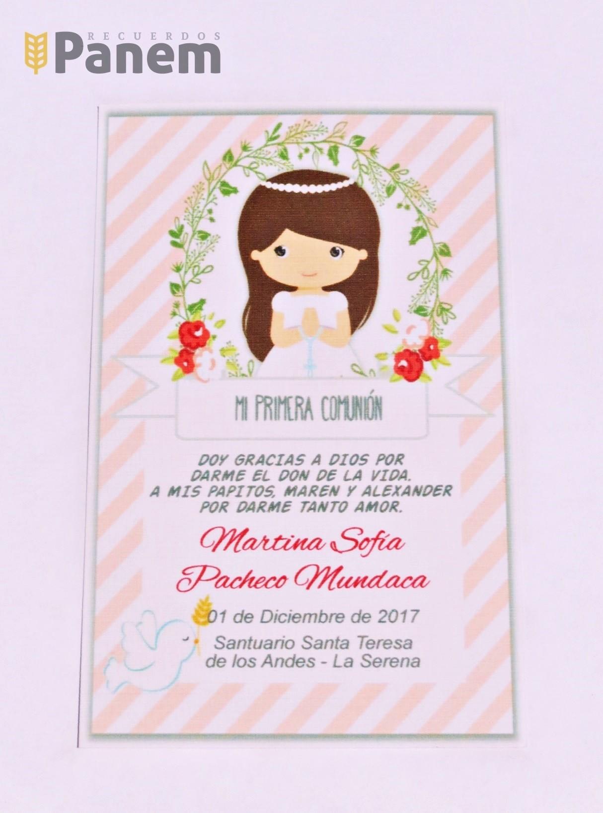 3c2d5164ae4 Santitos con imagen niña Primera Comunion (Valor por docena ...